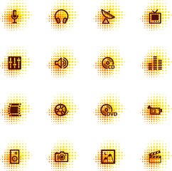 media icons, dots series