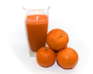 Juice from juicy orange on white