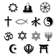 Religion Symboler med Drop Shadows