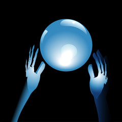 Crystal Ball Future in Hands