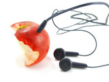 Half bitten apple with earphones like mp3 player. Isolated.. poster