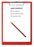 Audit checklist on red clipboard.  With clipping path. poster