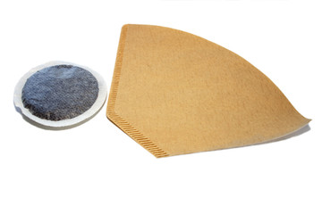 Unbleached brown coffee filter and pad
