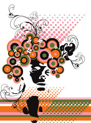 retro model silhouette floral abstract