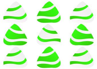 stylized green and white humbug mints