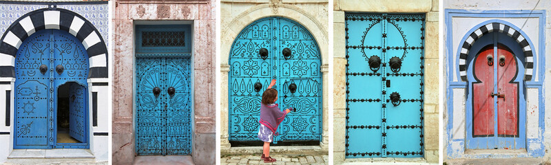 mosaic of arabic doors - tunisia - north africa