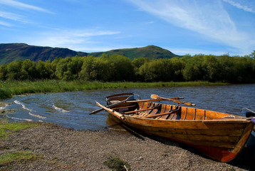 Rowing boat on Derwent Water in the English Lake District