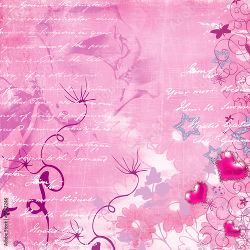 Illustration: romantic pink background with hand letter and hearts