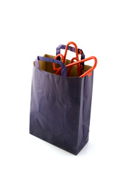 blue paper bag with cloth hangers