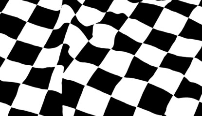 black and white chequered flag waving