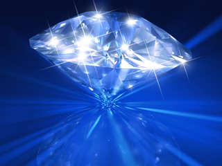 Huge 3d rendered diamond on beautiful blue background