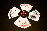 Playing cards and dice. Straight flush. poster