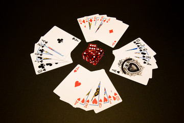 Playing cards and dice. Straight flush.