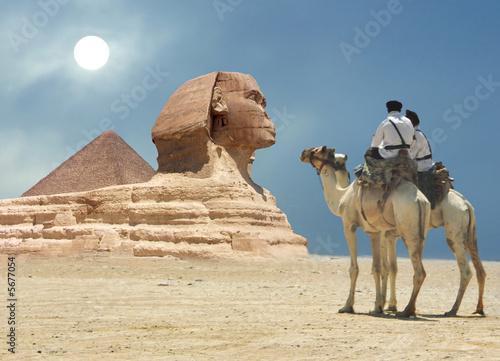 Leinwandbild Motiv Symbol Egypt's - pyramid, Sphinx, camel, sand and sun