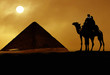Quadro Symbol Egypt's - pyramid, camel, sand and sun