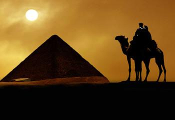 Symbol Egypt's - pyramid, camel, sand and sun