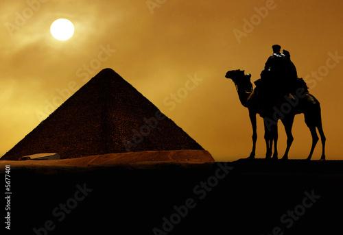Leinwandbild Motiv Symbol Egypt's - pyramid, camel, sand and sun