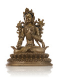 An ancient asian goddess statue over white poster