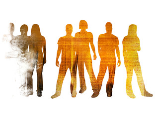 textures style of people silhouettes