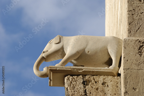The small marble sculpture on the Elephant Tower in Cagliari
