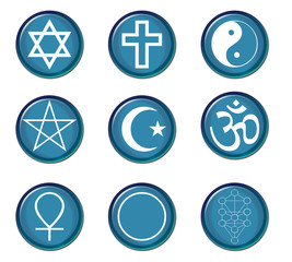 A collection of religious symbol buttons in blue