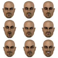 face with nine expressions.with Clipping Path