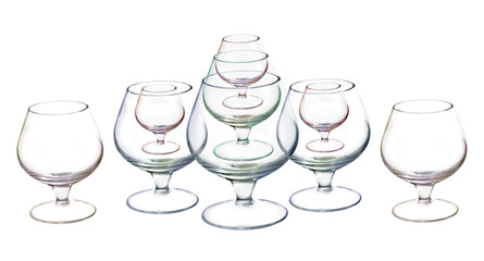 Empty wine glasses on white background