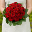 Red roses wedding bunch