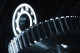 gears mechanics against velvet poster