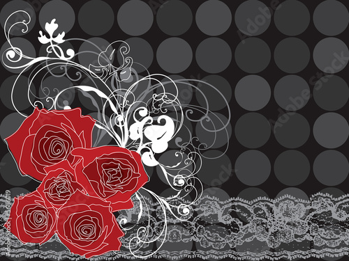 valentine red roses and lace