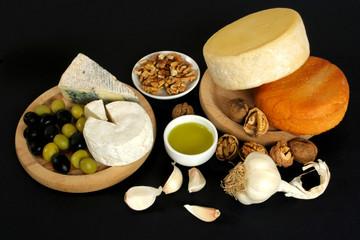 Cheese, olives, garlic and walnuts
