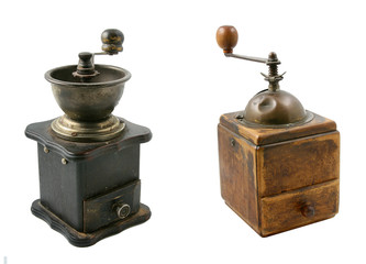 the set of two old coffe grinders