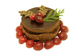 Cherry and chocolate mousse cake decorated poster