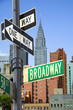 Broadway sign in front of New York City skyline - 5688285