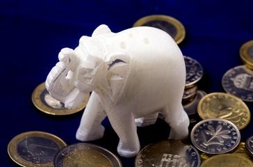 Jade elephant on coins