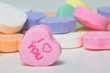 Conversation hearts Valentines day candy. Concept of love.