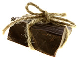 thick piece of CHOKOLATE tied by rope, soft focus, isolated poster