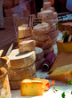 Assorted cheeses for sale on french farmers market