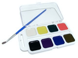 The multicolored aquarelle with one paintbrush poster