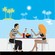 Couple in cafe on a beach
