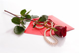 Love letter with string of pearls and red rose poster