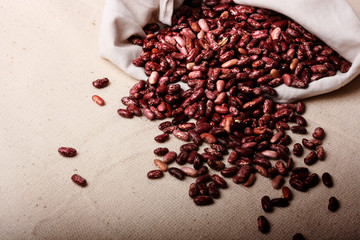 Haricot beans on canvas