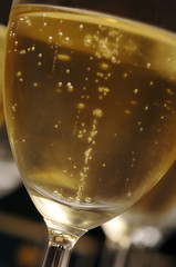 Champagne with bubbles in stem glass close up