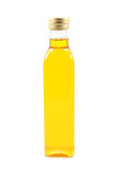 bottle of olive oil isolated on white poster