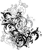 Fototapety monochrome floral ornament - vector