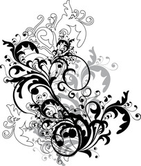 monochrome floral ornament - vector