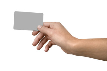 Hand and blank credit card