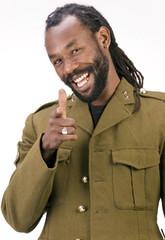A Black man in a Army jacket