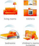 Icon set - furniture, living room, kitchen, bedroom, nursery poster
