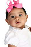 Close up of beautiful Hispanic 3 month old baby girl. poster